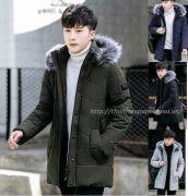 Áo khoác phao nam mũ lông dáng dài 024 ( Hàng mới về bổ xung size)