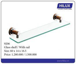 Glass shelf - With rail 9206