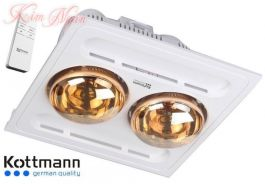 Đèn sưởi nhà tắm Kottman 2 bóng âm trần KN K9-R ( điều khiển từ xa)