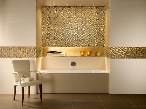 Phòng tắm sang trọng nhờ gạch mosaic thủy tinh